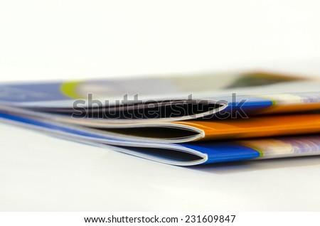 pile of magazines close up - stock photo