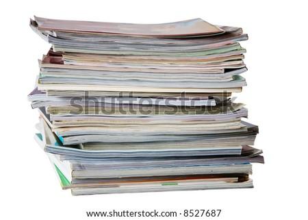 Pile of magazines isolated on white - stock photo