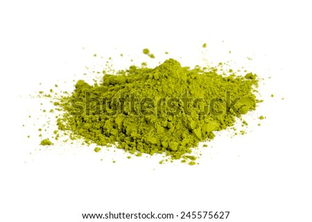 pile of Matcha tea isolated on white - stock photo