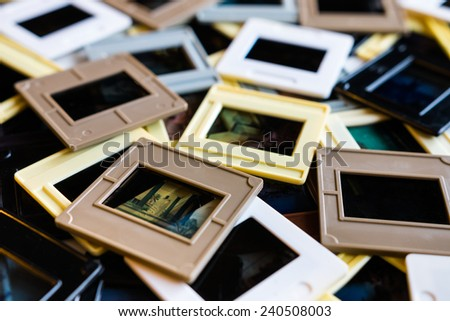 Pile of 35mm color slides - stock photo
