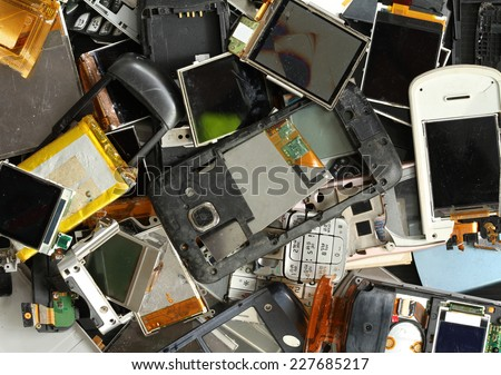 Pile of mobile phone scrap - stock photo