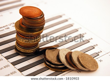 Pile of money on a chart background - stock photo
