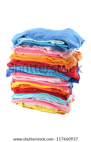 Pile of multiple color cloths on white background. ATTN REVIEWER: Please see an admin about this batch (re: case 00102594) - stock photo