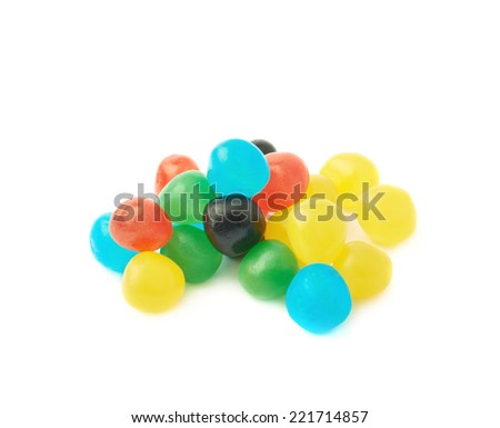 Pile of multiple colorful candy ball sweets isolated over the white background - stock photo
