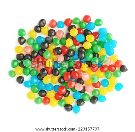 Pile of multiple colorful candy ball sweets isolated over the white background, top view above foreshortenings - stock photo