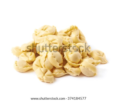 Pile of multiple ravioli isolated - stock photo