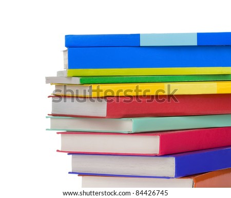 pile of new books with copy space - stock photo