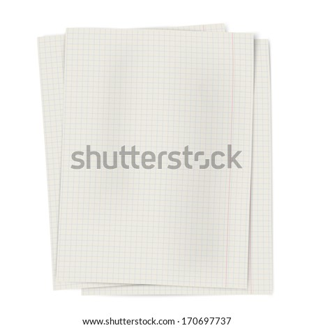 Pile of notebook squared sheets of paper isolated on white background. Raster version illustration. - stock photo