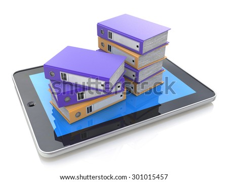 Pile of office folders, ring binders on a Tablet PC. - stock photo