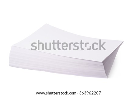 Pile of office paper sheets isolated - stock photo