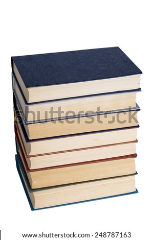 Pile of old books on a white background. - stock photo