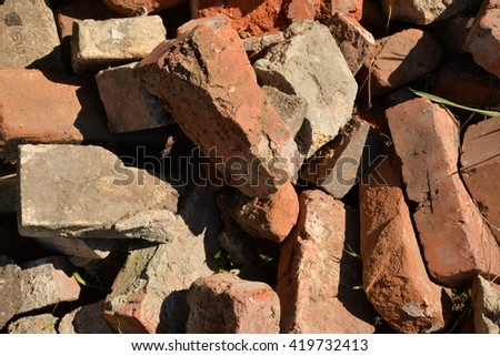 pile of old bricks - stock photo