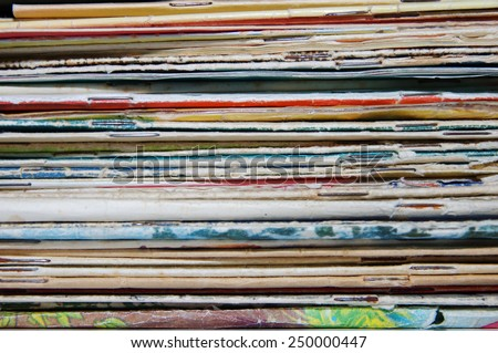 pile of old magazines and books close up - stock photo