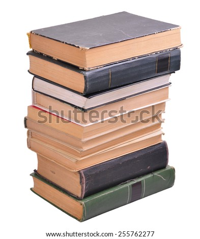 pile of old paper books isolated over white - stock photo