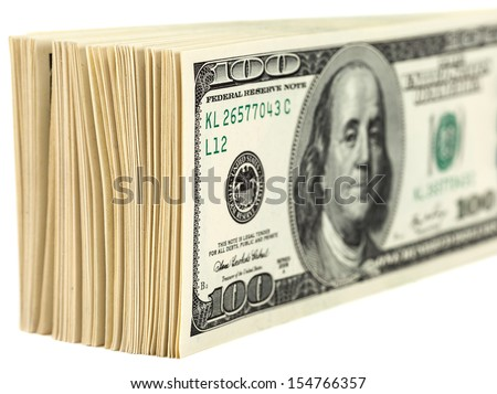 Pile of One Hundred Dollar Bills Isolated on  White Background - stock photo