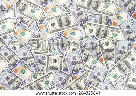 Pile of one hundred dollar bills new and old design. Top view point. - stock photo