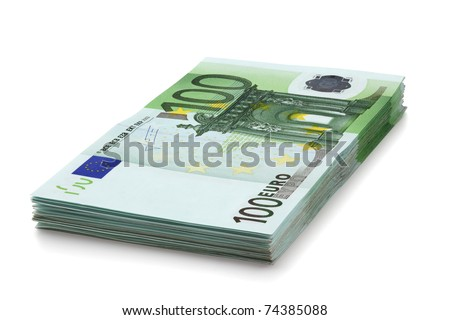 Pile of one hundred euro banknotes, isolated on the white background, clipping path included. Full focus. - stock photo