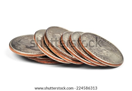 pile of one quarter coins isolated on white - stock photo