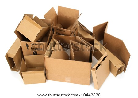 Pile of open cardboard boxes on white background. - stock photo