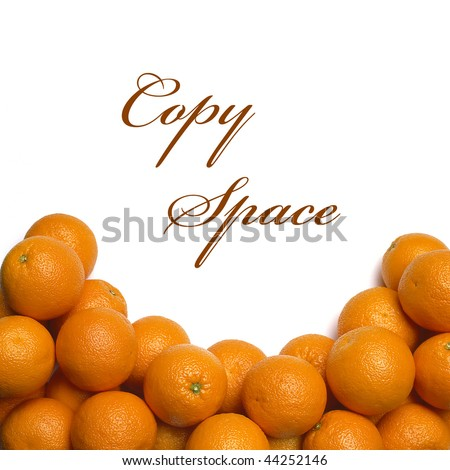 Pile of oranges with copy space on white background - stock photo