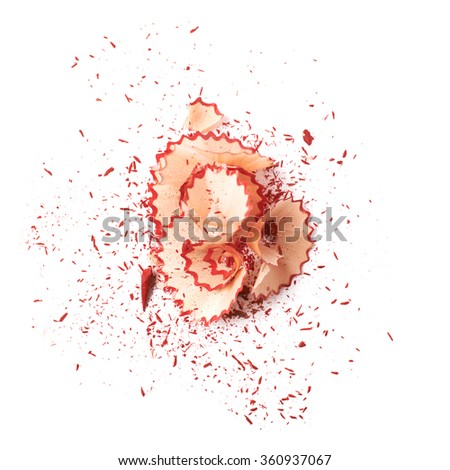 Pile of pencil's shavings isolated - stock photo