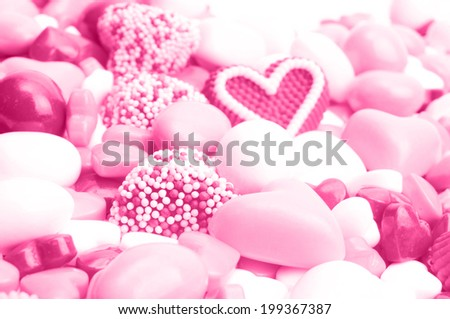 Pile of pink and red candy - stock photo