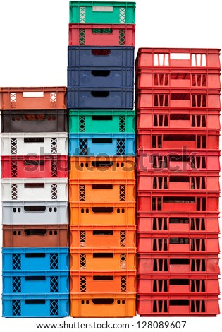Pile of plastic cargo boxes isolated on white background - stock photo