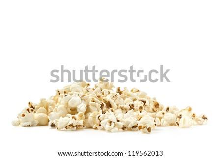 pile of pop corn on white background - stock photo