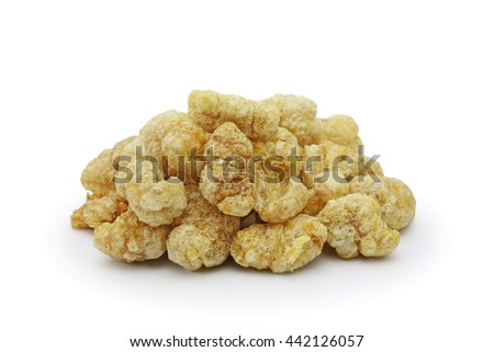 Pile of pork rind isolated on white background  - stock photo