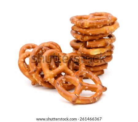 pile of pretzel on white background  - stock photo
