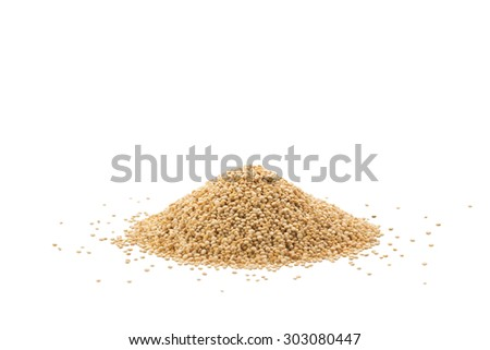 Pile of raw quinoa seeds isolated on a white background - stock photo