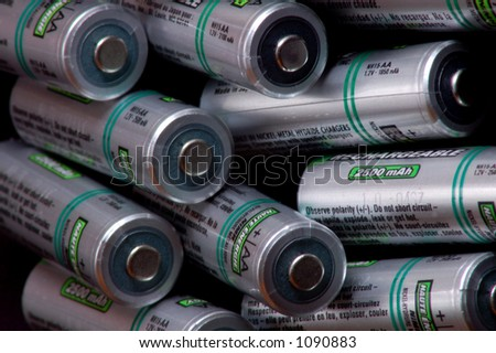Pile of Rechargeable Batteries - stock photo