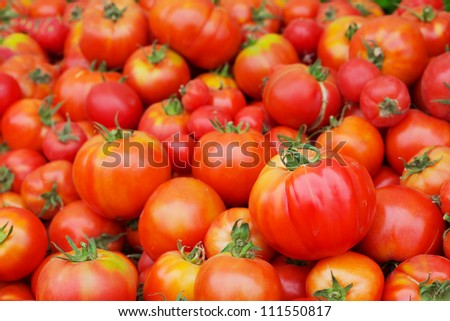 Pile of Red Juicy Tomatoes with softer background at the farmers market - stock photo