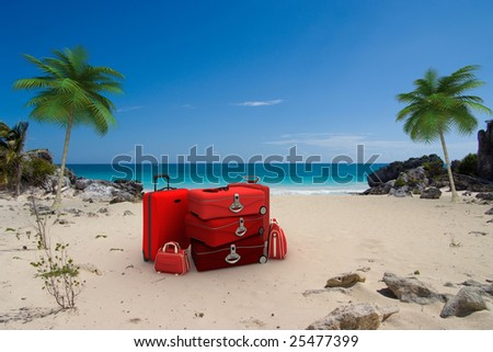 Pile of red luggage on a tropical beach - stock photo