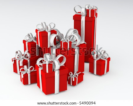 Pile of red presents with big metallic silver bows - stock photo