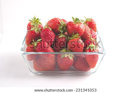 Pile of ripe garden strawberries close-up - stock photo