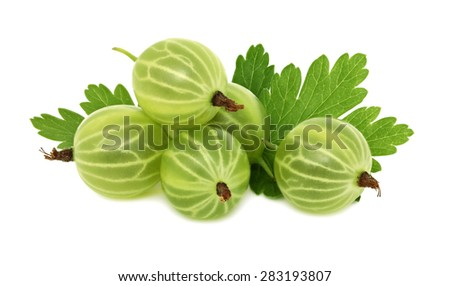 Pile of ripe green gooseberries with leaves isolated on white background - stock photo