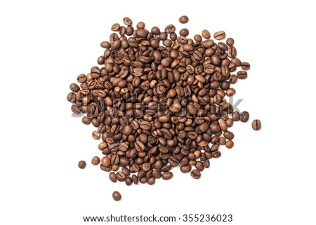 Pile of roasted coffee beans isolated on white background - stock photo