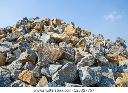 Pile of rocks. for construction. - stock photo