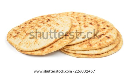 pile of round flapjacks isolated over white background - stock photo