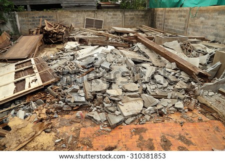 Pile of rubble of a demolished building - stock photo