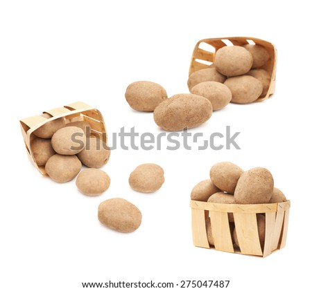 Pile of scattered out of the basket potatoes isolated over the white background, set of three foreshortenings - stock photo
