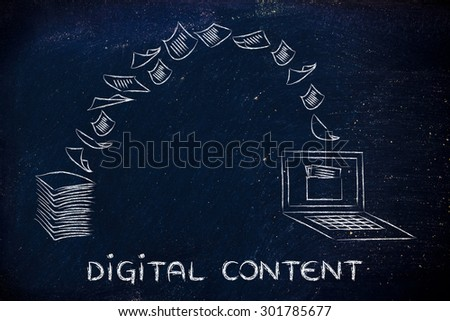 pile of sheets being turned into data, concept of digital content - stock photo