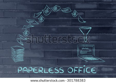 pile of sheets being turned into digital data, concept of paperless office - stock photo