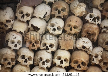 "Pile of skulls ""Killing Field"" at Siem Reap, Cambodia. - stock photo"