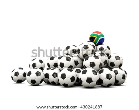 Pile of soccer balls with flag of south africa. 3D illustration - stock photo