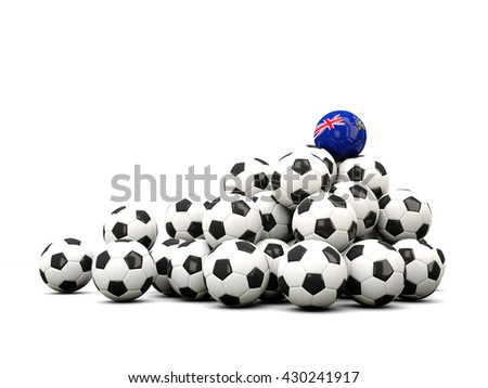 Pile of soccer balls with flag of south georgia and the south sandwich islands. 3D illustration - stock photo