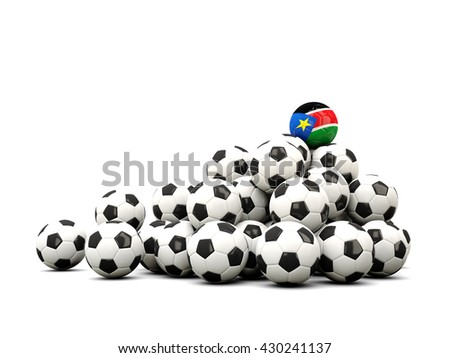 Pile of soccer balls with flag of south sudan. 3D illustration - stock photo