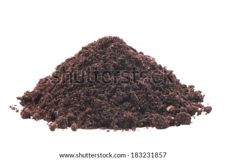 Pile of soil on the white isolated background - stock photo