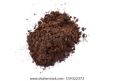 Pile of soil, top view, isolated on white background. - stock photo